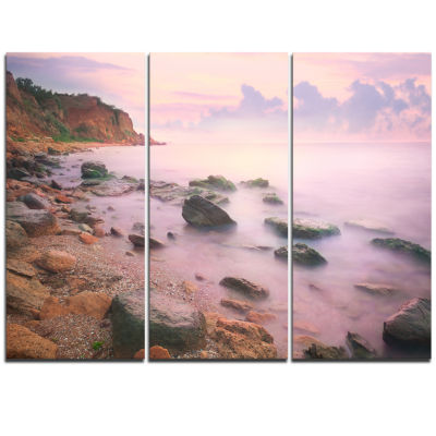 Designart Colorful Sunset Over The Sea Extra LargeSeashore Triptych Canvas Art