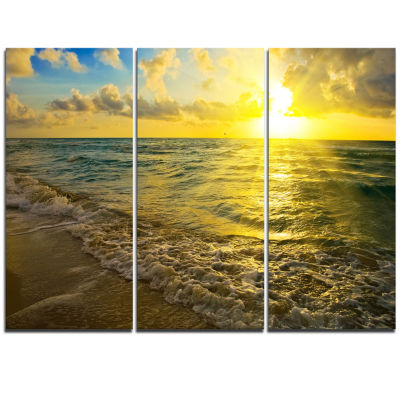 Designart Colorful Sunset Reflecting In Waters Seascape Triptych Canvas Art Print