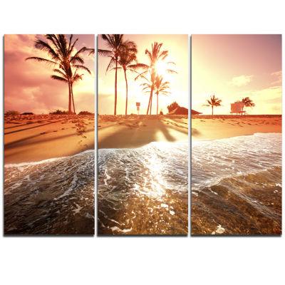 Designart Colorful Tropical Beach With Palms Modern Beach Triptych Canvas Art Print