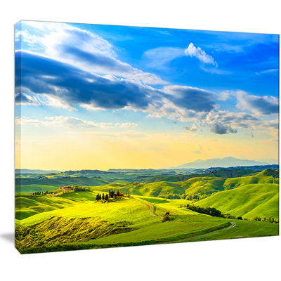 Designart Colorful Tuscany Countryside Farm Landscape Canvas Wall Art