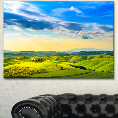 Designart Colorful Tuscany Countryside Farm Landscape Canvas Wall Art - 3 Panels