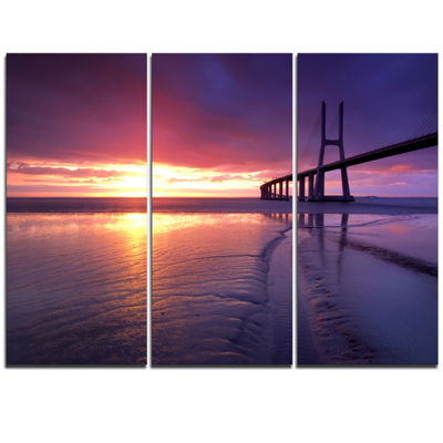 Designart Colorful Vasco Da Gama Bridge Pier Seascape Triptych Canvas Art Print