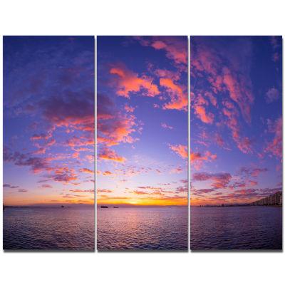 Designart Composition Of Nature Beautiful SeascapeModern Landscape Wall Art Triptych Canvas