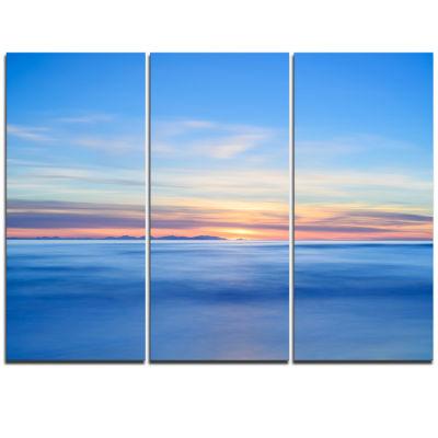 Designart Corsica Island Sunset View Italy Extra Large Seashore Triptych Canvas Art