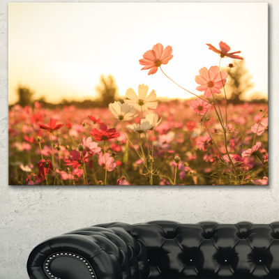 Designart Cosmos Flowers On Sunset Background Floral Canvas Art Print - 3 Panels