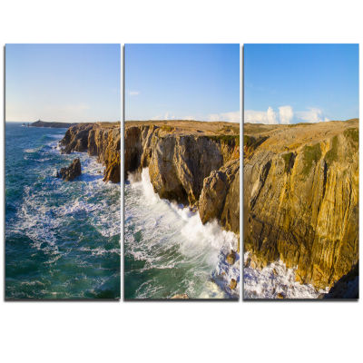Designart Cote Sauvage Bretagne France Large Seascape Art Triptych Canvas Print