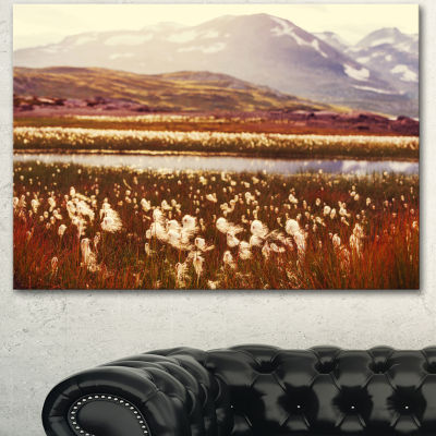 Designart Cotton Flowers With Hills On BackgroundFloral Canvas Art Print - 3 Panels