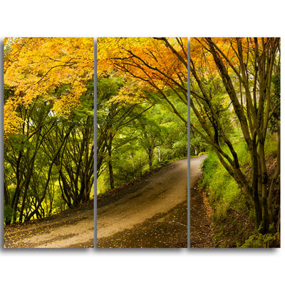 Designart Country Lane In Green Forest Extra LargeWall Art Landscape