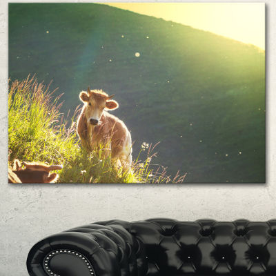 Design Art Cow Grazing On Meadow Evening OversizedLandscape Canvas Art