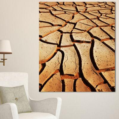 Designart Cracked Brown Drought Land African Landscape Canvas Art Print
