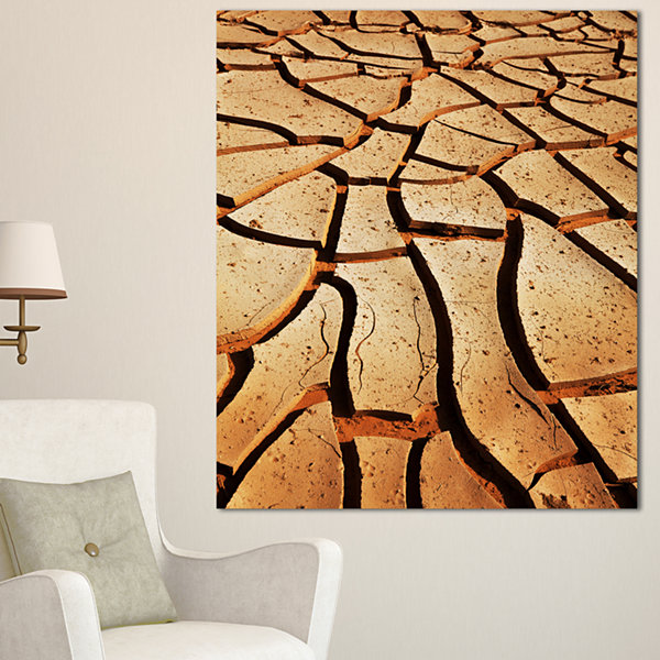 Designart Cracked Brown Drought Land African Landscape Canvas Art Print - 3 Panels
