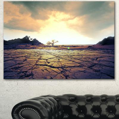 Designart Cracked Drought Land With Sunshine ExtraLarge Landscape Canvas Art