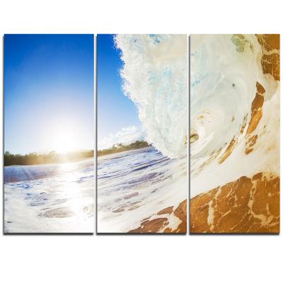 Designart Crashing Sandy Ocean Waves Modern BeachTriptych Canvas Art Print