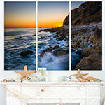 Designart Crashing Waves At Pelican Cove SeascapeTriptych Canvas Art Print