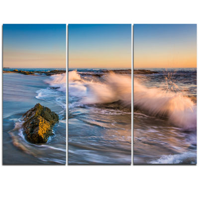 Design Art Crashing Waves At Victoria Beach Seascape Triptych Canvas Art Print