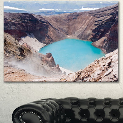 Designart Crater Of Volcano Goreliy Landscape Canvas Wall Art - 3 Panels