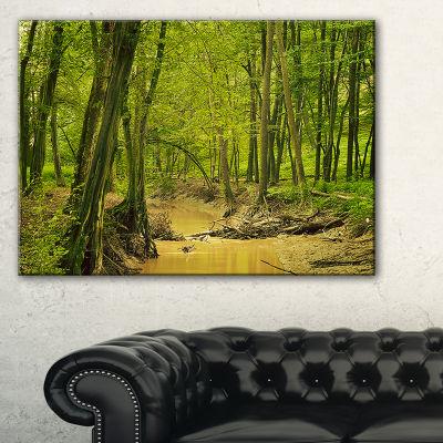 Designart Creek In Wild Green Forest Oversized Forest Canvas Artwork