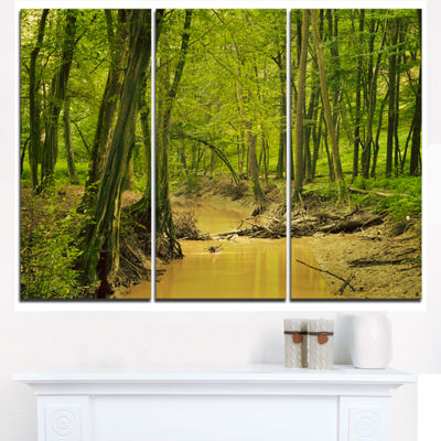 Designart Creek In Wild Green Forest Oversized Forest Triptych Canvas Artwork