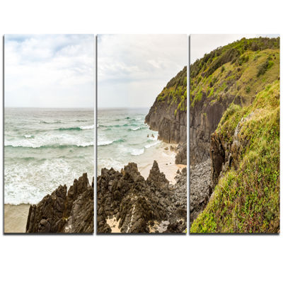 Designart Crescent Head Coastline In Australia Landscape Artwork Triptych Canvas