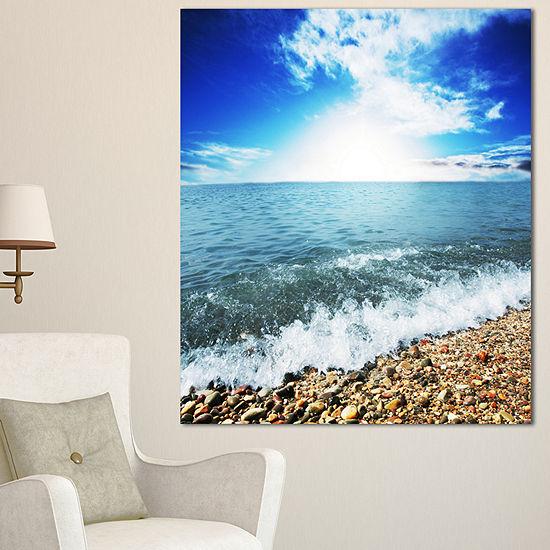 Designart Crystal Clear Blue Sea Waves Seascape Canvas Art Print - 3 Panels