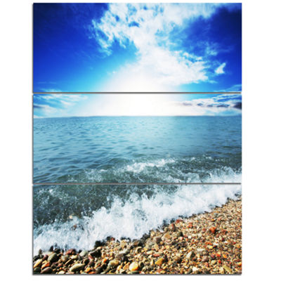 Designart Crystal Clear Blue Sea Waves Seascape Canvas Art Print - 3 Panels