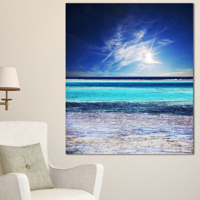 Designart Crystal Clear Sea Under Sunlight Seashore Canvas Art Print
