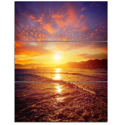 Designart Cullera Playa Los Olivos Beach Modern Beach Triptych Canvas Art Print