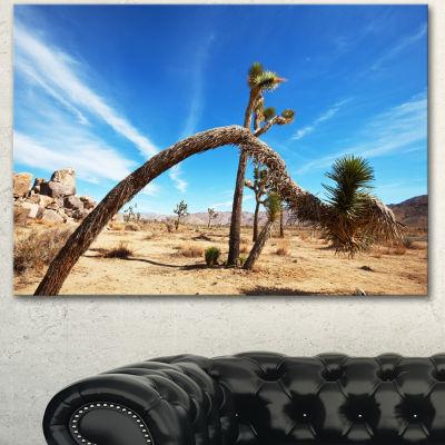 Designart Curved Joshua Tree In Desert Landscape Wall Art On Canvas