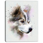 Designart Cute Brown Dog Watercolor Oversized Animal Wall Art