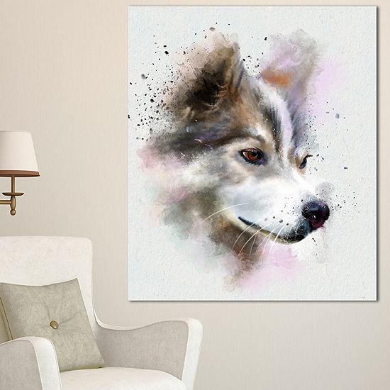 Designart Cute Brown Dog Watercolor Oversized Animal Wall Art