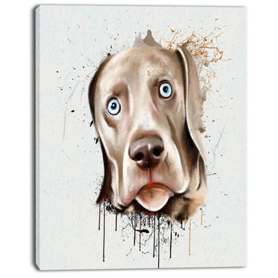 Designart Cute Dog Portrait Watercolor OversizedAnimal Wall Art
