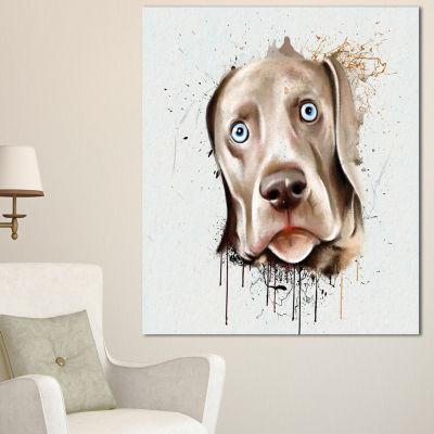 Designart Cute Dog Portrait Watercolor OversizedAnimal Wall Art