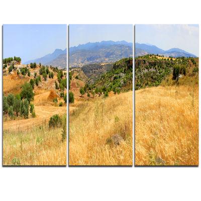 Designart Cyprus Landscape Panoramic View Landscape Triptych Canvas Art Print