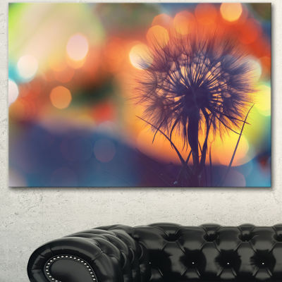 Designart Dandelion Flower On Orange Background Floral Canvas Art Print - 3 Panels