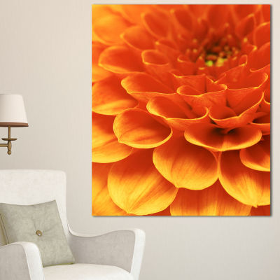Designart Dark Abstract Yellow Flower Petals Floral Canvas Art Print