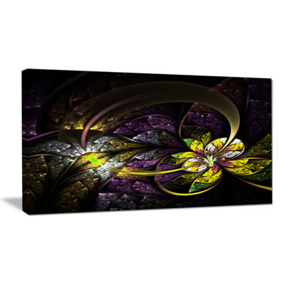 Designart Dark Alien Digital Art Fractal Flower Floral Canvas Art Print