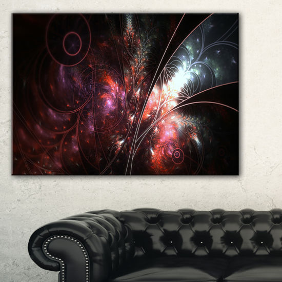 Designart Dark Alien Digital Art Fractal Flower Large Floral Canvas Art Print