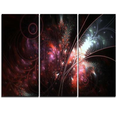 Designart Dark Alien Digital Art Fractal Flower Large Floral Triptych Canvas Art Print