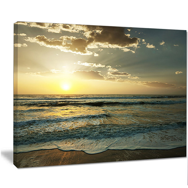Designart Dark Beach And Waves At Sunset Beach Photo Canvas Print