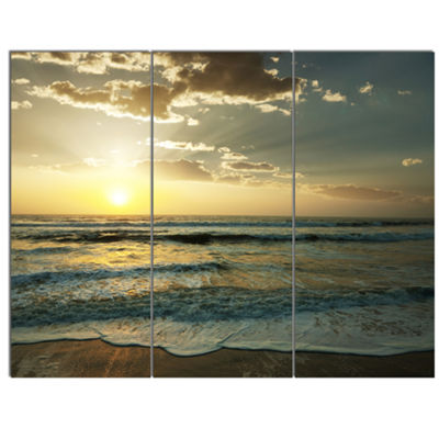 Designart Dark Beach And Waves At Sunset Beach Photo Canvas Print - 3 Panels