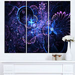 Designart Dark Blue And Pink Fractal Flowers LargeFloral Wall Art Triptych Canvas