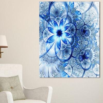 Designart Dark Blue Flower Pattern Design Floral Art Canvas Print