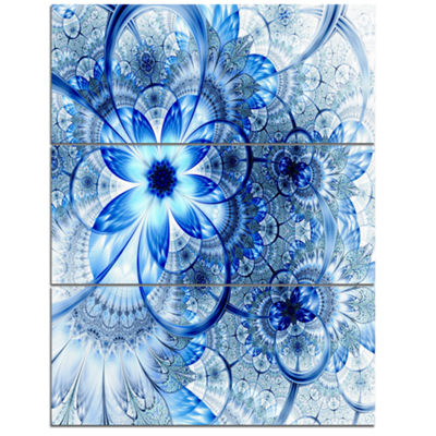 Designart Dark Blue Flower Pattern Design Floral Art Triptych Canvas Print