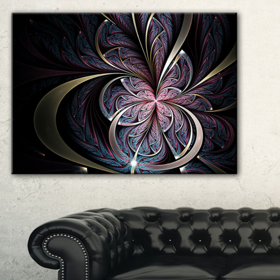Designart Dark Blue Fractal Butterfly Flower Floral Canvas Art Print