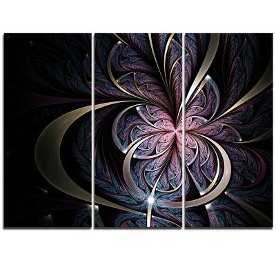 Designart Dark Blue Fractal Butterfly Flower Floral Triptych Canvas Art Print