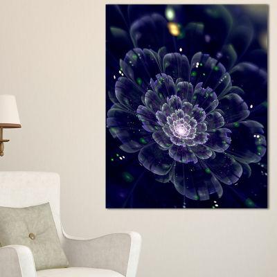 Designart Dark Blue Fractal Flower Digital Art Floral Canvas Art Print