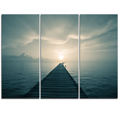Designart Dark Boardwalk Into Blue Sea Bridge Triptych Canvas Art Print