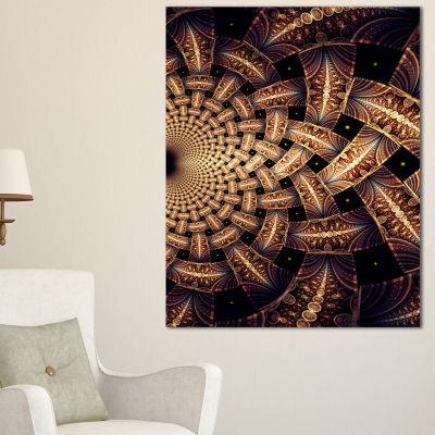 Designart Dark Brown Fractal Flower Pattern FloralCanvas Art Print