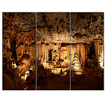 Designart Dark Cango Caves South Africa African Landscape Canvas Art Print - 3 Panels