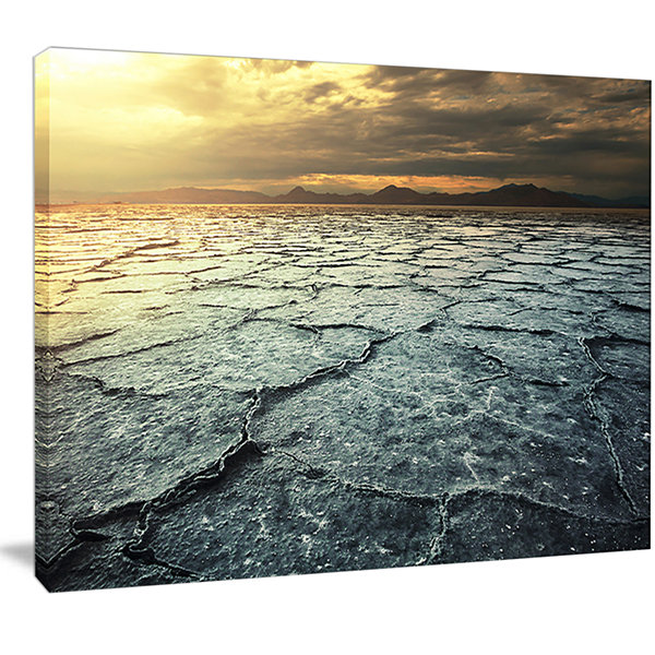 Design Art Dark Drought Land Under Cloudy Sky Landscape Wall Art On Canvas